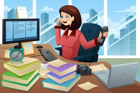 Una ilustración vectorial de empresaria ocupada hablando por teléfono