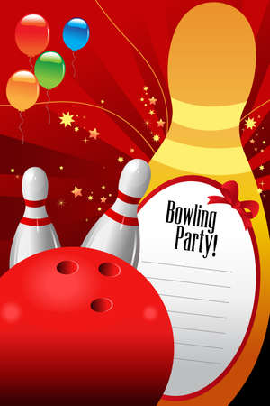 challenges: A vector illustration of bowling party invitation template Illustration