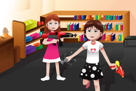 A vector illustration of cute girls playing with boys toys at home Stock Vector - 24470444