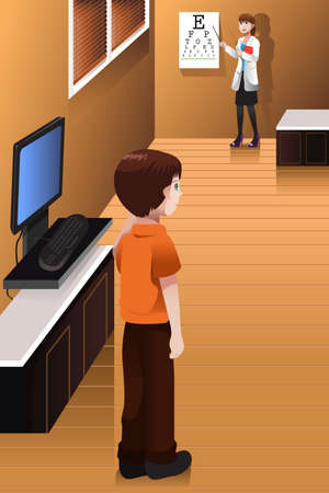 A vector illustration of little boy having his eyes checked at the doctor's office Vector