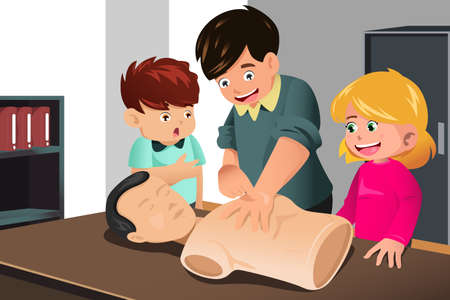 A vector illustration of kids practicing CPR on a mannequin with their instructor Vector