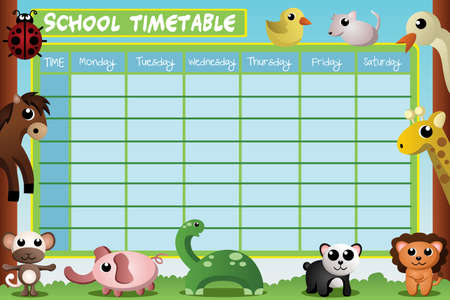 day planner: A vector illustration of school timetable design Illustration