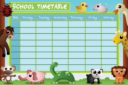 timetable: Una illustrazione vettoriale di calendario scuola di design