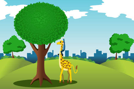 money tree: A vector illustration of man trying to reach money on a tall money tree while riding on a giraffe