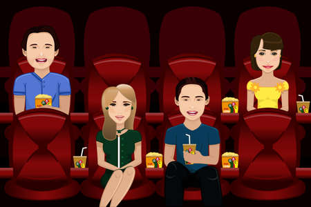 A vector illustration of people watching movie inside a movie theater Çizim