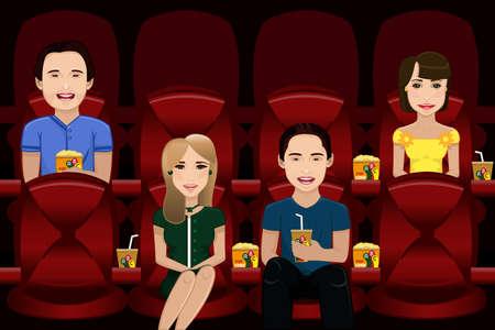 Una ilustración vectorial de personas viendo la película en el interior de una sala de cine Foto de archivo - 24470506