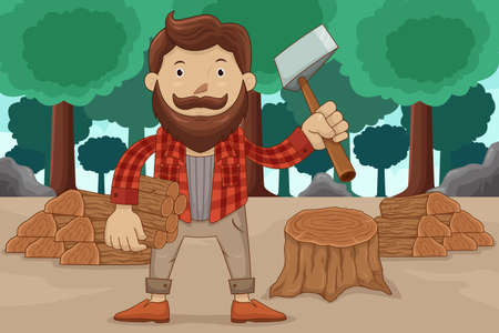 A vector illustration of hipster chopping wood