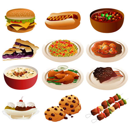 A vector illustration of American food icons Vector