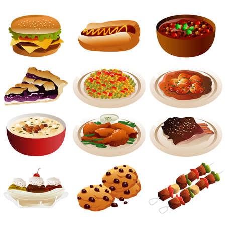 Uma ilustração em vetor de ícones de comida americana