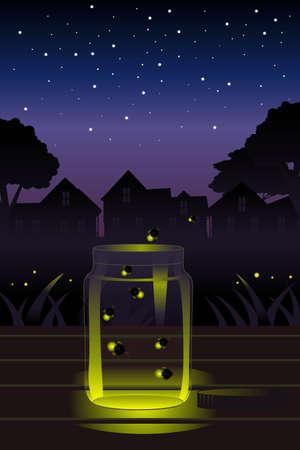 lightening: Una ilustraci�n vectorial de luci�rnagas que escapan de un frasco de vidrio Vectores