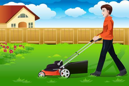 Een vector illustratie van een man het gras maaien