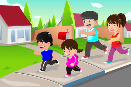 A vector illustration of happy family running outdoor in a suburban neighborhood Illustration