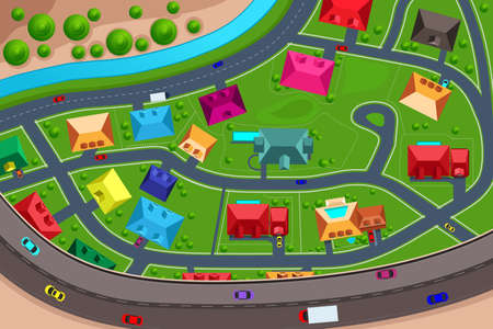 cartoon house: A vector illustration of houses in suburban viewed from above