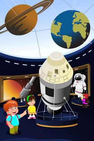 A vector illustration of happy kids on field trip to a planetarium 向量圖像