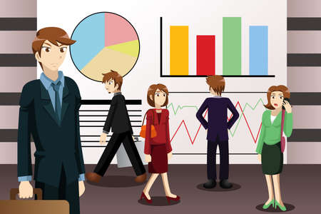 A vector illustration of businesspeople walking among large screens displaying information Vector