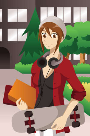 A vector illustration of college student carrying skateboard and books and wearing headphones on campus
