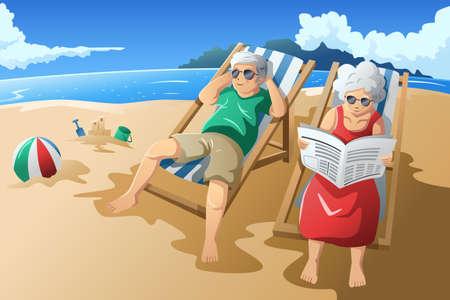 resor: En vektorillustration av lyckliga äldre par njuter av sin pension på stranden