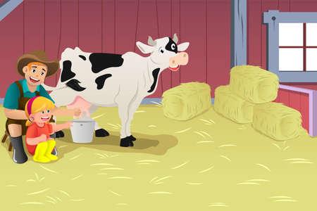 Een vector illustratie van boer leren jongen hoe je een koe melken