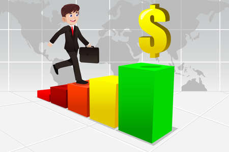 A vector illustration of businessman climbing up a ladder made of charts for business concept Vector