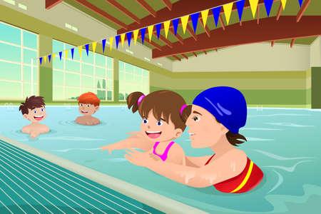 옥내의: 아이들이 실내 수영장에서 수영 수업을 갖는 벡터 일러스트 레이 션