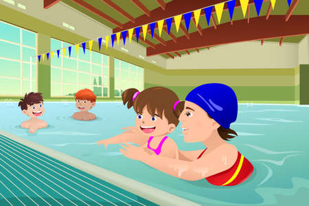 adults learning: A vector illustration of kids having a swimming lesson in indoor pool