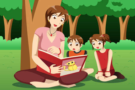 A vector illustration of teacher reading book to preschool kids in the park Ilustracja