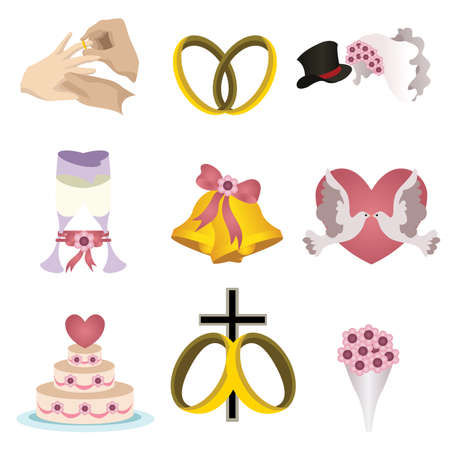 A vector illustration of wedding icon sets Фото со стока - 24925421