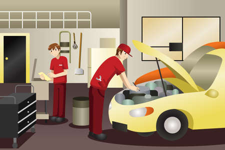 A vector illustration of auto mechanic working on a car