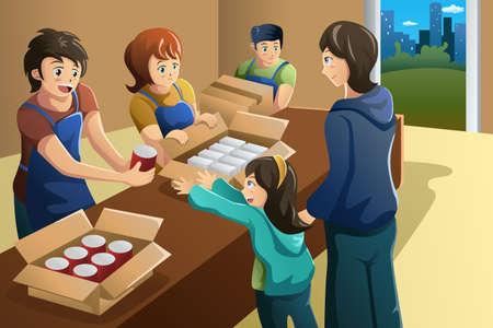 Een vector illustratie van team van vrijwilligers werken bij voedselschenking centrum