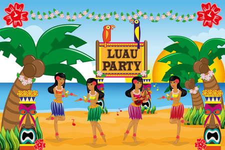 dívka: Vektorové ilustrace havajské Luau strany