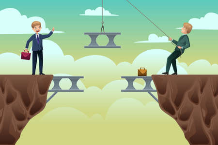 team: A vector illustration of business concept of two businessmen trying to build a bridge in between cliffs