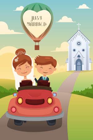 bruilofts -: Een vector illustratie van gelukkige bruid en bruidegom rijden auto na hun huwelijksceremonie