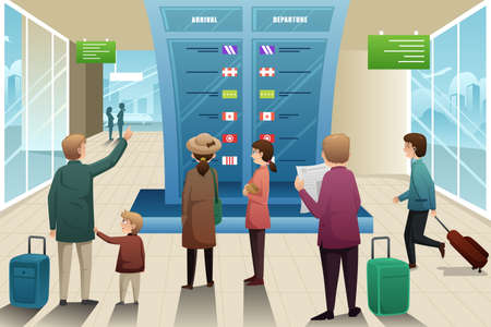 looking: A vector illustration of many travelers looking at departure board