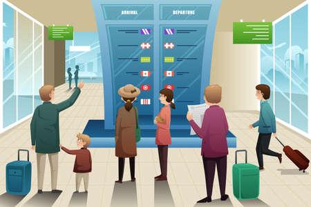 mirando: Una ilustraci�n vectorial de muchos viajeros que buscan en la tarjeta en la salida Vectores