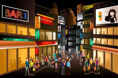 Een vector illustratie van personen aan het winkelen in een drukke stadscentrum bij nacht