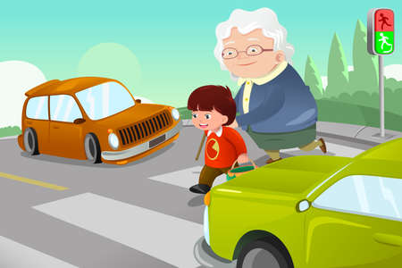across: A vector illustration of kid helping senior lady crossing the street
