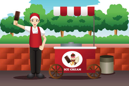 A vector illustration of ice cream man Vector