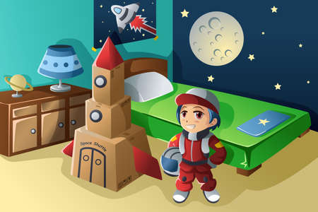 A vector illustration of kid dressed in astronaut costume Vector