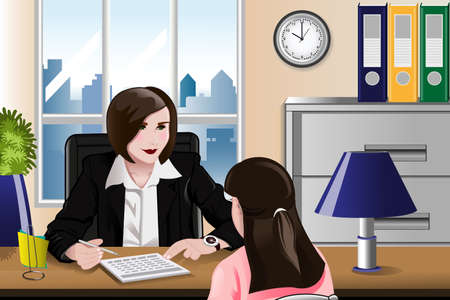 interviewer: A vector illustration of woman having a job interview in the office