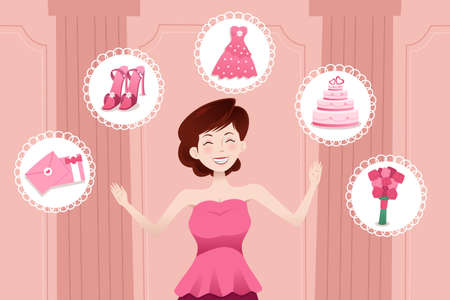 A vector illustration of beautiful woman planning her wedding Vector