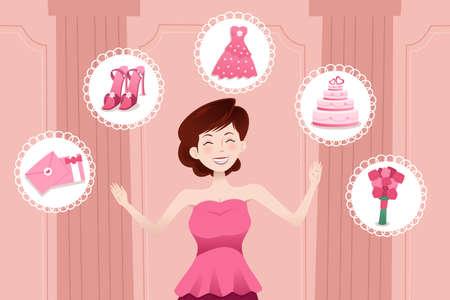 A vector illustration of beautiful woman planning her wedding Illustration