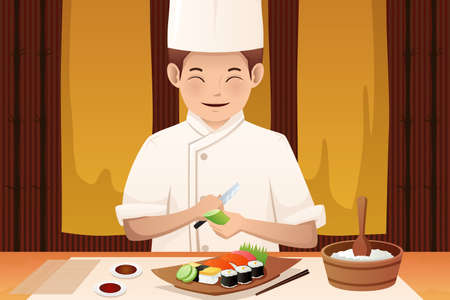 A vector illustration of sushi chef working in a restaurant Illustration