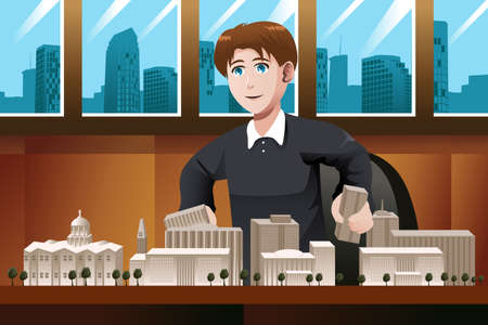 architect: A vector illustration of architect working in the office