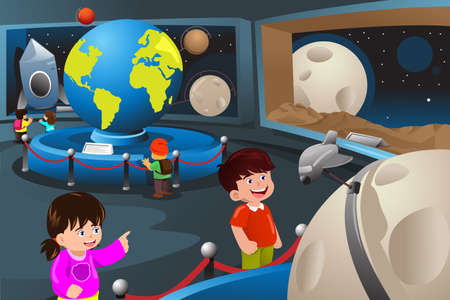 A vector illustration of happy kids on field trip to a planetarium Vectores