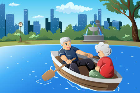A vector illustration of happy senior couple rowing a boat on lake