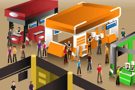 an exposition: Una illustrazione vettoriale di popoli guardando un stand espositivi