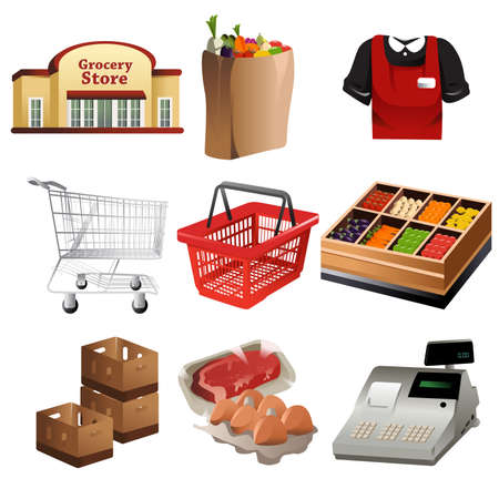 cassa supermercato: Una illustrazione vettoriale di alimentari set di icone