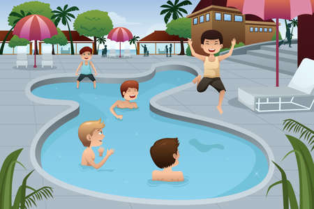 A vector illustration of happy kids playing in an outdoor swimming pool at a resort Çizim