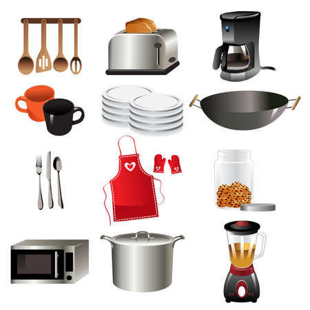 A vector illustration of kitchen icon sets