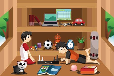 jugando ajedrez: Una ilustración vectorial de dos niños palidez dentro de una casa en el árbol